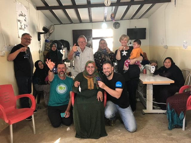 New Zealand pastors visiting a vocational training centre for Syrian refugees in Lebanon with Tearfund NZ