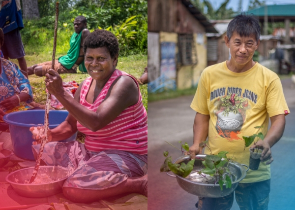 A woman prepares food for her emergency food kit in Vanuatu, and a Filipino man shows his seedlings that he's growing as part of his farming cooperative